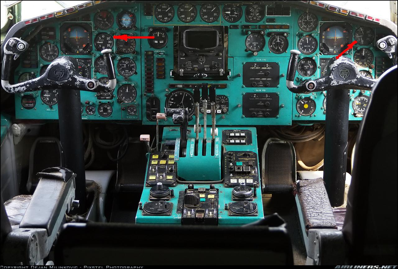 Схема кабины пилотов на ту 154