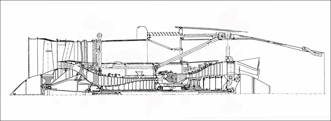 Чертеж-схема двигателя ПС-90А.